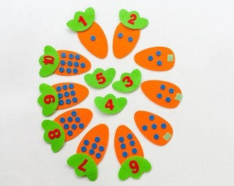 Busy Bags Activity - Montessori inspired Carrots Counting Toddler Game Preschool Learning Toy Homeschool Game 36M Up Gifts for Age 3