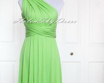 Convertible BUD GREEN Dress ,Bridesmaid Infinity Dress, short Prom dress
