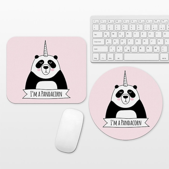 Pandacorn Panda Unicorn Mouse Pad Pink Mousepad, Cute Funny Mouse Mat, Circle Round Rectangular, Cubicle Decor Desk Office Decor for Women