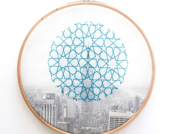 New York-Embroidery and Geometry Print Art