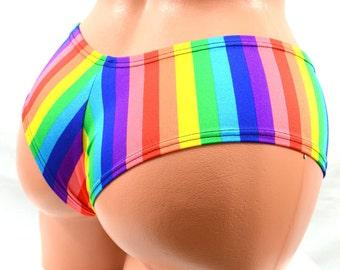 Rainbow Print Ultra Cheeky  Booty Shorts Hot Pants! Rave Clubwear EDM Festival Shorts -E7906