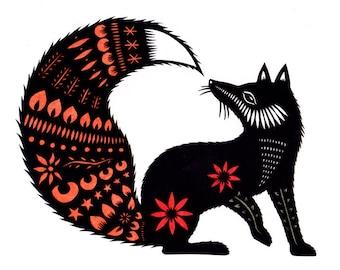 Fox Tale - 5 x 7 Cut Paper Art Print