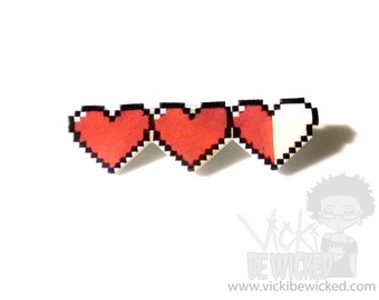 Heart Pin, Pixel Heart Life Bar, Energy Hearts, Videogame Health, Legend of Zelda Brooches