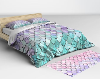 Mermaid Bedding Twin - Comforters and Duvet Cover - Mermaid Bedding - Twin Full Queen and King Sizes Matching Pillow Shams Available