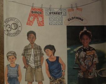 Simplicity 9531, sizes 5-8, boys, childrens, tank top, shorts, shirt, UNCUT sewing pattern, craft supplies
