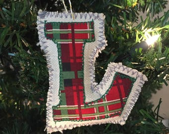 Christmas Tartan Letter Ornament