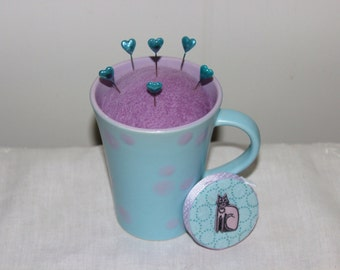 Aqua and Lavender Polka Dot Mug Wool Felt Pincushion and Matching Retractable Cat Tape Measure Set