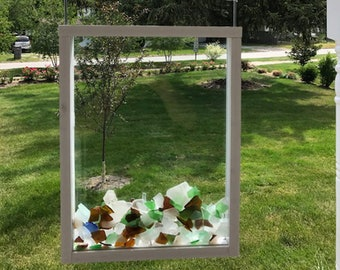 Bling Beach Glass Window - Collector - White or Wood - Showcase Sea Glass and Beach Glass in the Ultimate Seaglass Display Window