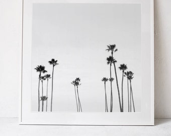 Palm Trees Wall Art Print, Black and White Print, Palm Trees Photography Print, Palm Tree Print, Square Print Instant Download PRINTABLE Art