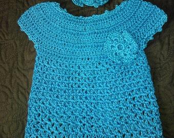 Crochet Infant Dress and Headband