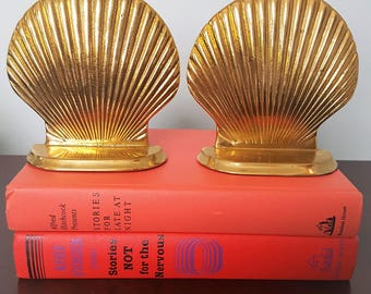 Vintage Brass Shell Bookends, Seashell Bookends ~SALE!