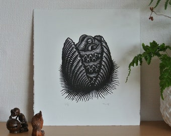 Coconut Octopus Original Linocut Print, Hand Printed Limited Edition of 5.