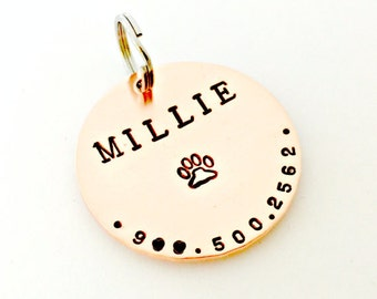 Pet ID Dog Tags - Custom Dog Tag - Personalized Hand Stamped Identification Name Tag for Collar - Copper Disc - Name & Phone Number if Lost