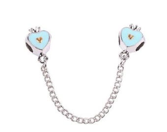 1 Sky Blue Heart with Crown Safety Chain Fits European Style Charm Bracelets -