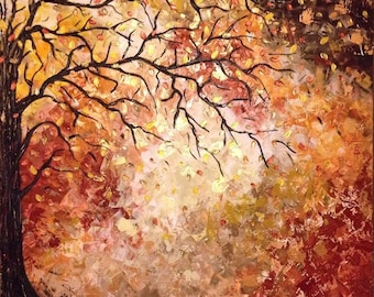 """Custom Original LARGE Abstract Metallic Textured Palette Knife Impasto Painting 30X30 in, """"Autumn 2"""", Ask for a Custom"""