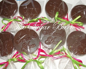 THANK YOU Chocolate Lollipops*12 Count*Customer Appreciation*Employee Thank You*Edible Thank You*Promotion*Retirement*Hostess Gift