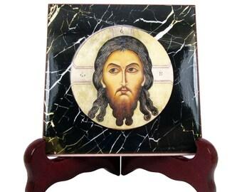 Christian gifts - Image of Edessa - Mandylion Icon - Jesus Face - christian icon on ceramic tile handmade - christian art - christian decor