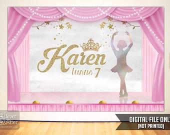 Ballerina Backdrop Ballet little girl background birthday party dance recital poster pink gold swan lake stage banner girl baby shower sign