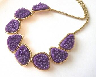 Eggplant Purple Plum Grape Druzy Drusy Bib Statement Necklace. Druzy Jewelry. Drusy Necklace. Purple Jewelry for her