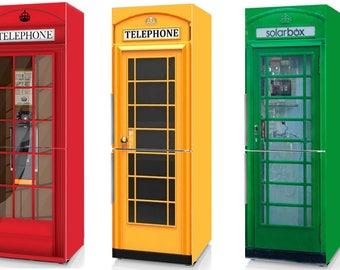 Fridge Vinyl Sticker *Red Phone Booth**Yellow Phone Booth**Green Phone Booth*/Self-Adhesive Vinyl Refrigerator Decal