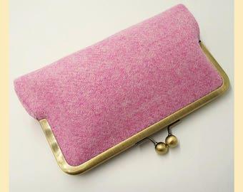 Harris Tweed bag, pink tweed purse, pink clutch bag, pale pink handbag with blue silk lining, wedding clutch bag, personalised gift