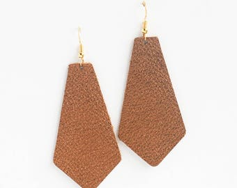 Bronze Leather Earrings, Genuine Leather, Leather PENDANT earrings, Trendy Earrings, Lightweight Earrings- BRONZE METALLIC