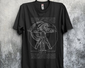 Vitruvian Hunters Negative (TEXT) T-shirt / Alien Vs Predator Tee / Xenomorph / Sci-fi / Horror Movies /  Leonardo / Free Shipping worldwide