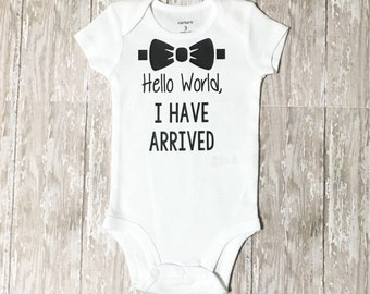 Hello World bodysuit - Coming Home Outfit - Newborn Outfit - Baby Shower Gift - Hello World Outfit - Bodysuit - Boys Coming Home Outfit
