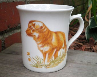 Vintage Dog Coffee Cup / Mug - Retro Collectible Kitschy Country Dog Cream / Ivory  Ceramic  Mug - Big Brown Puppy Dog Lover Gift For Her