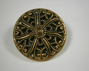 Large Twinkle Button, Mirror Back Button, Fancy Brass Filigree Vintage Button