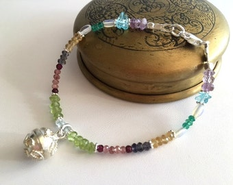 Multi Gemstone Bracelet-Bali Chime Ball Bracelet