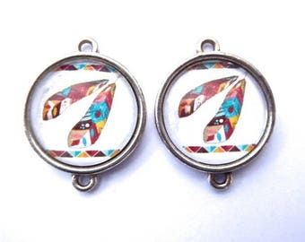 Native American charm, feather, 2 cm glass Cabochon
