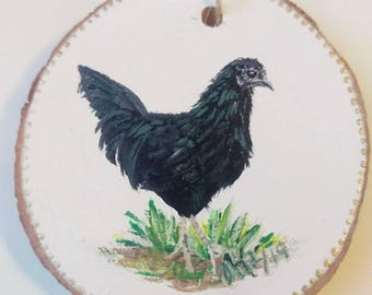 Hen,black,Sumatra, chicken,bird,sun,rustic, ornament, miniature painting