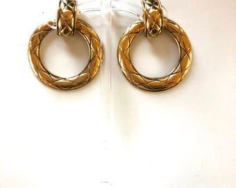 CHANEL HOOP Earrings AUTHENTIC