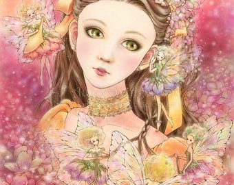 Free Shipping to US - Girl with Fairies in a Garden Fantasy Art - Enchanted Visions - 5x7 Signed Print - by Mitzi Sato-Wiuff