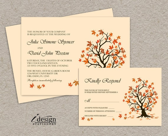 Homemade Fall Wedding Invitations: DIY Fall Wedding Invitation With RSVP Card Printable Falling