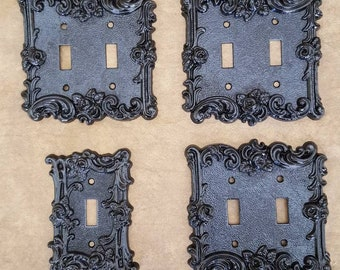 Set of four Truly vintage 1967 switch plate covers gloss black lovely rose pattern