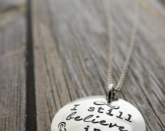 I Still Believe in 398.2 Necklace in Sterling Silver - Hand Stamped Charm Necklace - Literary Book Lover Gifts - Geekery