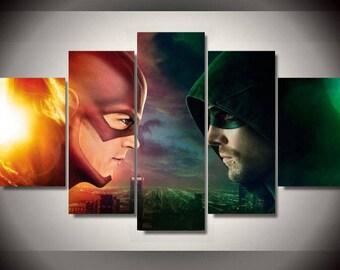 5 Panels Flash vs Green Arrow DC Comics Canvas Art Multi Grouped Art Work