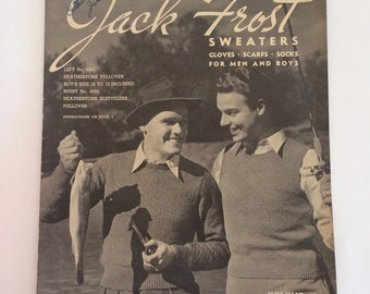 1940's Knitting Pattern Book Jack Frost Sweaters for Men and Boys Vol 45. WWII Era