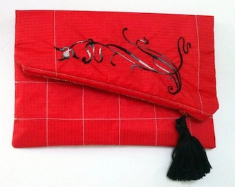 Red Woman's Clutch, Recycled Paraglider Clutch, Foldover Clutch, Floral Embroidery Vegan Foldover Clutch Purse,