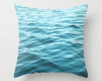 Photo Pillow Cover Decorative Teal Pillow Water Pillow Ocean Pillow Beachy Pillow Cover