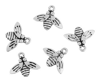 Tibetan Style Alloy Charms, Antique Silver Flys/Bees - Pack of 10 (1187)