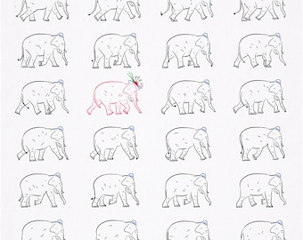 The Pink Elephant - Animal Art - Pattern Design - Home Decor - wall art - Limited Edition Print