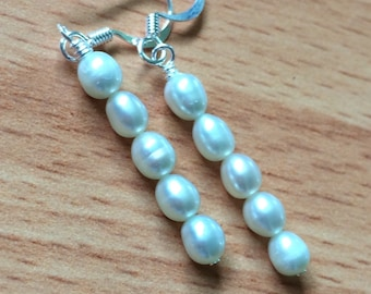 Lola, Stacked Fresh Water Pearl earrings in ivory cream minimalist, wedding jewelry