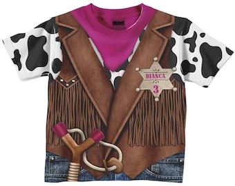 Cowgirl Shirt, Personalized Childrens Western Birthday T-Shirt, Girls Cowboy Birthday Shirt, Old West Sheriff TShirt
