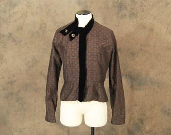 vintage 40s Blouse - 1940s Art Deco Brown and Black Plaid Peplum Shirt Jacket - Sz M L