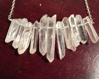 Raw Quartz Point Necklace- Sterling Silver Quartz Necklace- Crystal Bar Necklace