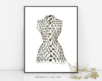 WIRE DRESS FORM 02 - Instant Download - printable art by Anamnesis for framing, totes, pillows, clothes etc. - vintage sewing art for crafts