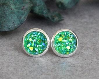 Green Stud Earrings, Green Earrings, Green Druzy Earrings, Green Post Earrings, Green Druzy Stud Earrings, Small Green Earrings